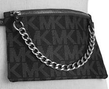 AUTHENTIC MICHAEL KORS MK DESIGNER LOGO BLACK LEATHER TRENDY ADJUSTABLE BELT BAG