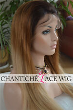 Dark Root Blonde Ombre Wig Three Tone 100 Human Hair Lace Front Wigs T1B/2/144