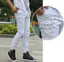 fashion Mens personality slim fit  trousers fight skin casual denim pencil pants