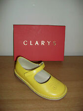 Brand New Clarys Girls Yellow Mary Jane Shoes Style 1116 rrp £45.00