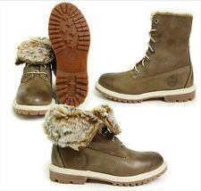 Timberland Womens Taupe Leather Winter Boots Faux Fur Fold Down 3758R ALL SIZES