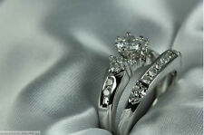 VINTAGE SOLID 925 STERLING SILVER CZ ENGAGEMENT RING WEDDING RING SET
