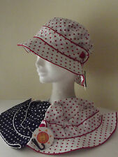 Ladies 100% cotton spotty design sun hat with UPF 50+ protection (X292)