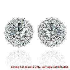 Halo Jackets for 3 Ct Total Weight 7MM G-H Diamond Stud Earrings 14K White Gold