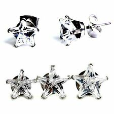 """316L Surgical Stainless Steel """"STAR"""" CZ STUD EARRINGS–5mm to 10mm -w/ Gift Pouch"""