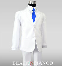 White Suit for Kids and Boys with a Royal Blue Long Neck Tie Outfit Set