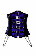 Heavy Steel Boned Gothic Lolita Steampunk Punk Anime Blue Plaid Corset Cincher