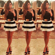 WOMENS SEXY BANDAGE BODYCON LONG SLEEVE EVENING PARTY COCKTAIL MINI SHORT DRESS