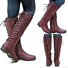 New Womens BM24 Ox Blood Lace Up Riding Knee High Cowboy Boots Sz 5.5 to 11