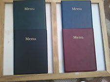 QTY 12 A4 LEATHER LOOK MENU COVER-- plus 6 a4 pockets welded to spine