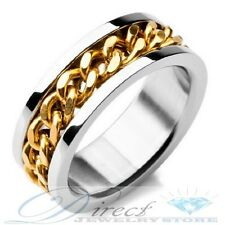 Mens 316L Stainless Steel 18k Gold Plated Chain Inlay Ring  Size 7 to 14.5