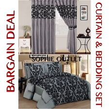 Bargain Deal Damask 4 Pcs Complete Bedding Set With Pair Of Flock Curtain SILVER