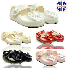 BABY KIDS GIRLS PATENT BOW BUTTON PRAM SOFT WEDDING CHRISTENING CHILDRENS SHOES