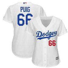 2015 Yasiel Puig Los Angeles Dodgers Home (White) Cool Base Jersey Women's