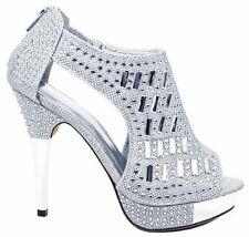 New High Heel Open Toe Rhinestone Crystal Bridal Sandals Dressy Womens Shoes