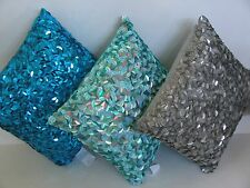 NWT Gray Aqua Turquoise Chunky Sequins Bling Decorative Bed Chair Throw Pillow