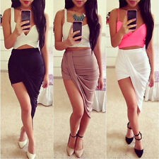 Draped Asymmetrical High Waisted Stretch Bodycon Low Mini Maxi Skirts New DX