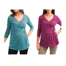 New Labor of Love Maternity 3/4 Sleeve Cross Front Knit Top Tunic SZ S M L XL