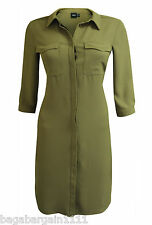 NEW ASOS KHAKI GREEN SHIRT DRESS LONG CALF LENGTH MIDI LOOSE TRENDY SIZE 6 - 16