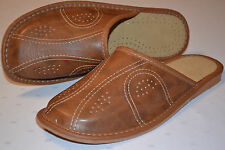 Mens Natural Leather Slippers Shoes Sandal Brown Handmade From Poland Scuffs New