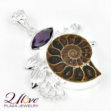 Natural Cute Ammonite Fossil Charm Amethyst 925 Sterling Silver Necklace Pendant