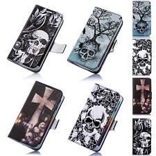 Skull and Bones Death´s Head Book Style Flip Cover Wallet Design Case for Cell