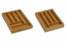 New Wooden Kitchen Cutlery Tray Bamboo Expandable Drawer Tidy Organiser Tray