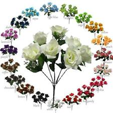 MP Open Rose Silk Flowers Bushes x7 roses Artificial wedding centerpiece
