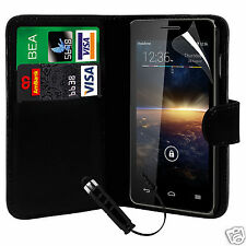 Black PU Leather Wallet Flip Case Cover, Film & Mini Stylus For Various Phones