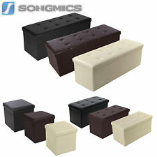 Songmics Faux Leather Folding Storage Ottoman Bench Foot Stool Black Brown Beige