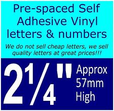 """QTY of: 6 x 2¼"""" 57mm HIGH STICK-ON SELF ADHESIVE VINYL LETTERS & NUMBERS"""