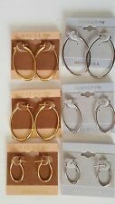 14 KT.GOLD PLATED OVAL HOOP EARRINGS MADE IN USA Buy 2 or More W/GIFT PACK