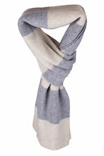 Mens 100% Cashmere Scarf - 'Natural/Light Grey' - made in Scotland RRP £180