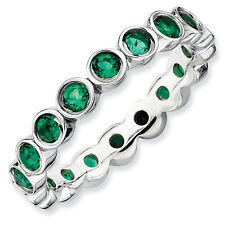 Created Emerald Eternity Ring Sterling Silver Sz 5-10 Stackable Expressions