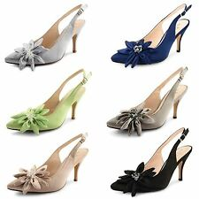 Womens Ladies Satin Stiletto High Heel Flower Ankle Strap Shoes Sandals Size UK