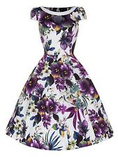 50s Retro Vintage Purple Pansy Print Party Swing Rockabilly Jive Dress New 8 -26