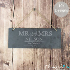 MR & MRS Engraved Slate Wedding, Anniversary Signs Plaque - Personalised Gift