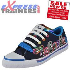 Babycham Womens Girls Frankie Glitter Lace Up Pumps Trainers Navy AUTHENTIC