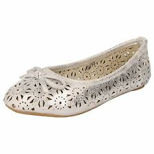 """GIRLS SPOT ON SILVER FLAT SHOES """"H2295"""""""