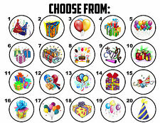 63 Birthday Party Presents Balloons Invite Envelope Seals / Labels / Stickers