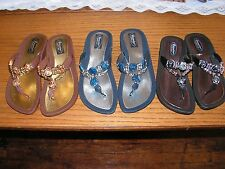 Grandco Expression Thong Sandals, Black, Blue, Brown FREE Shipping Flip Flop