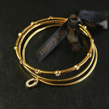 "Juicy Couture ""charm minis"" set bangle bracelet lucky horseshoe or heart key"