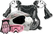 YOUTH Helmet Motocross Dirtbike DOT ATV PINK w/ Gloves Goggles & Chest Protector