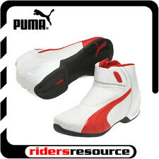 Puma Mens Flat 2 v2 Vented Race Street Motorcycle Boots White Red