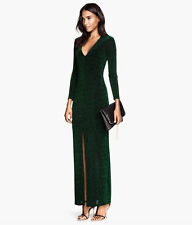H&M Conscious Trend Exclusive Green Shiny Jersey Maxi Cocktail Dress  sz S Small