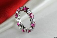 Hot Pink Sapphire And White Round Silver 925 Eternity Ring Anniversary Band