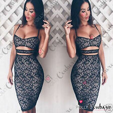 Womens Black Lace Sexy Cut Out Bodycon Evening Party Prom Ladies Dress