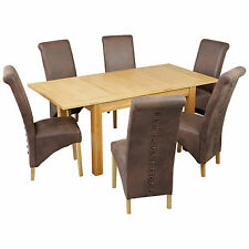 Oak & Veneer Extending Dining Table and Chair Set with 4/6 Seats | Black Brown