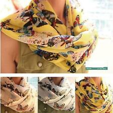 New Lady Vintage Butterfly Soft Chiffon Scarf Wrap Shawl Stole Scarves 3 Color