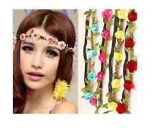 Flower Headband Fabric Flower Headband - Set of Two Blue Pink Red or Yellow